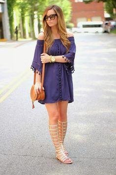 Tassel Dress + Gladiator Sandals