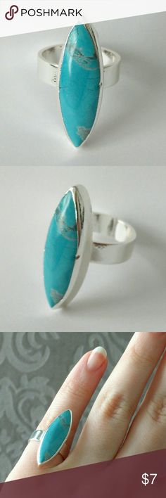 "Turquoise blue howlite silver-plated ring Natural beauty meets a chic and modern design!  Turquoise howlite stone takes center stage in this silver-toned stunner!    Nickel and lead free.  About a size 6.  Price is firm and extremely reasonable, but click ""add to bundle"" to save 10% on your purchase of 2+ items! Jewelry Rings"