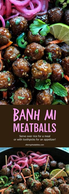 Banh Mi Meatballs by afarmgirlsdabbles . - Banh Mi Meatballs from afarmgirlsdabbles … – - Think Food, Love Food, Pork Recipes, Cooking Recipes, Meatball Recipes, Asian Food Recipes, Meatball Meals, Easy Recipes, Chicken Recipes