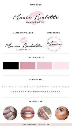 Premade logo , Makeup logo, Beauty shop logo, Blog logo kit, Blog branding kit, Premade Logos, Logo Design, Watermark, Pink logo