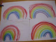 """Materiaal: vetkrijt bewegingen vooraf:  -Geef de kinderen linten in een kleur van de regenboog en laat hen tijdens het zingen al dansend 'regenbogen' maken. Schrijfdans: Op grote vellen papier tekenen ze op de maat van het lied grote bogen te beginnen bij de grootste boog. Leuk is daarbij het liedje Regenboog"""" van Ria Hurkens."""