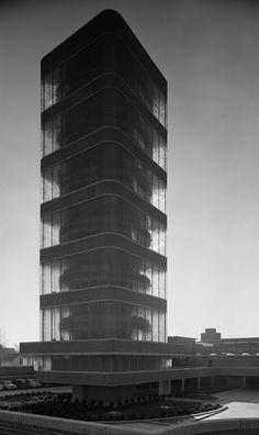 Johnson Wax Tower, Frank Lloyd Wright, Racine, WI, 1950, photographed by Ezra Stoller