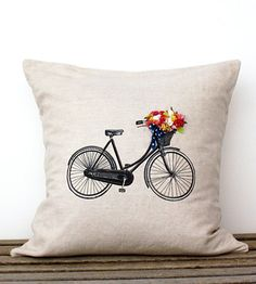 Bicycle Pillow Cover with Hand-Sewn Flowers in Home by Apple White Handmade on Scoutmob Shoppe. A cool vintage bicycle on a linen/cotton pillow cover with hand-sewn cotton flowers and a bow in the basket.