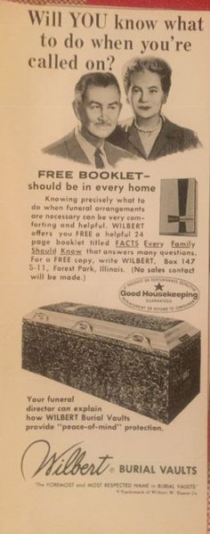 Vintage ad 1963 burial vault Vintage Advertisements, Vintage Ads, Burial Vaults, Old Ads, Vaulting, Funeral, Booklet, Advertising, This Or That Questions