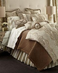 Shop luxury bedding sets and bedding collections at Horchow. Browse our incredible selection of full, queen, and king size luxury bedding sets. Damask Bedding, Comforter Sets, Linen Bedding, Bedding Shop, Bed Linens, Neutral Bedding, Linen Bedroom, Bedroom Bed, Dream Bedroom