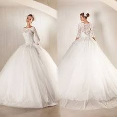 Lace bateau covered button 3/4 long sleeve ball gown wedding dresses