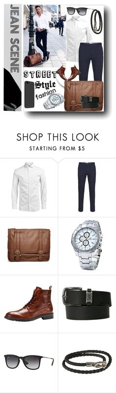 """""""Street Style Fashion for Men's"""" by jeanscene ❤ liked on Polyvore featuring Jack & Jones, French Connection, Ray-Ban, Tod's, men's fashion and menswear"""
