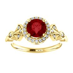 Ruby & Diamond Halo Style Ring to celebrate July Birthdays! Click through for product details.