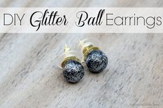 Make DIY Glitter Ball Earrings using Polyform Premo Clay! #sculpeyprojects #ad
