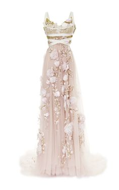 3D Silk Ribbon Rose Empire Waist Gown by Marchesa for Preorder on Moda Operandi