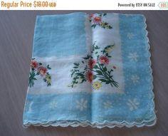 50% OFF SALE Vintage Floral Printed Linen Hankie  Pale Blue