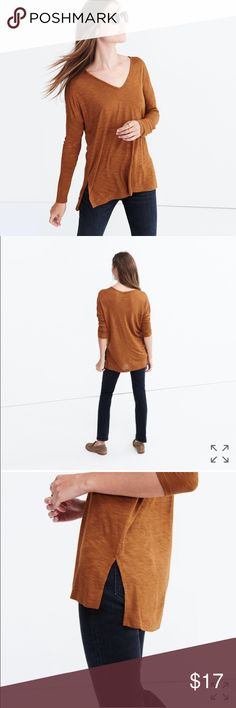"Madewell Anthem Long-Sleeve V-Neck Tee ""Laid-back and undeniably flattering, this long-sleeve V-neck T-shirt has split side vents for a tuck-friendly shape. Crafted of a new smooth, light version of our signature Anthem fabric—the one with that extra-soft feel and perfect drape—this is one tee we can't help but hit replay."" Excellent condition, hardly worn. Madewell Tops Tees - Long Sleeve"