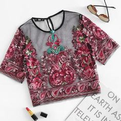 Red Flower Embroidered Mesh Crop Top/Blouse  Short Sleeve for Summer Fashion for Women