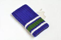 Hand Knit Vancouver Canucks Phone Hockey Cozy Sock. $16