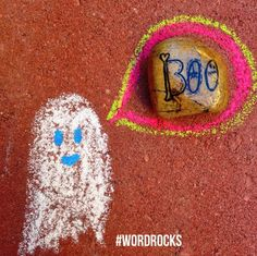 Halloween is on the corner.  A 'boo' #wordrocks ready to be planted at  Park Dale Lane Elementary School this morning.