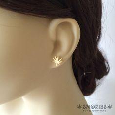 Modern Marijuana earring,18k Gold,marijuana earring,marijuana jewelry,stoner weed earring cannabis classy gold MODERN Leaf SMER-0018-GXX