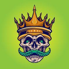 Gold crown angry skull mustache with wee... | Premium Vector #Freepik #vector #leaf #crown #cartoon #skull Cannabis, Gold Crown, Mustache, Clipart, Vector Art, Graffiti, Royalty, Skull, Weed