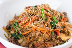 Japchae Colorful vegetables and succulent beef make this Korean favorite a must-try for anyone who loves Asian cuisine. Made simple through stir-fry, this Japchae recipe traditionally cooks its ingredients separately, but this method is much less time-consuming.