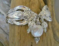 Silver Artistry Silver Plated Spoon Bracelet with Genuine Coin Pearl. 40.00, via Etsy.