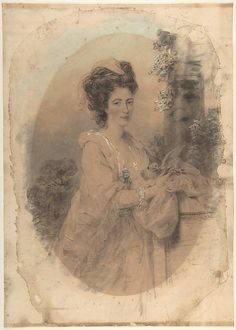 Isabella Hunter, Cousin of the Artist  John Downman  (British (born Wales), Ruabon 1750–1824 Wrexham)  Date: 1781 Medium: Watercolor, colored chalk, and graphite