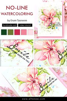 Check out our new weekly feature - our very first Creative Coloring with Erum! Here, Erum shares a no-line watercoloring technique on her handmade card. Hand Made Greeting Cards, Greeting Cards Handmade, Unique Cards, Creative Cards, Altenew Cards, Paint Cards, Colouring Techniques, Card Making Techniques, Card Making Inspiration
