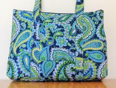 Navy Light Blue Lime Green Teal White Paisley Print Quilted Purse by RoxannasBags on Etsy