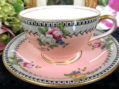 AYNSLEY TEA CUP AND SAUCER FLORAL & PEACH OLDER PATTERN TEACUP