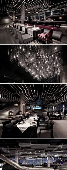 Zense_The Rebirth_Bangkok_Ceiling Feature Concept by Department of Architecture (ceiling n floor idea Deco Restaurant, Rooftop Restaurant, Industrial Interiors, Industrial Shop, Industrial Living, Industrial Shelving, Industrial Bathroom, Industrial Office, Industrial Windows