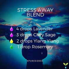 Stress away blend.  Brought to you by yet another Pure Family member! Try diffusing this blend after those long days at work or in the classroom. It works wonders! #stressaway #essentialoilblend #diffuserblend #blends . . Stress Away Blend 4 drops lavender essential oil 3 drops clary sage essential oil 2 drops ylang ylang essential oil 1 drop rosemary essential oil . . Looking to discover new essential oils every month without breaking the bank?Take a peek at Pure EO Box! 100% pure,