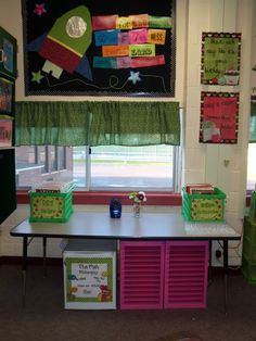 """Love the sayings on the wall - """"Start each day like it's your birthday"""" and """"Today a reader, tomorrow a leader"""", love the light weight curtains, and the black fabric makes every bulletin board pop!"""
