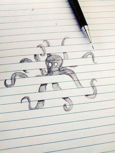 Octopus Emerging From Floorboards  #doodle