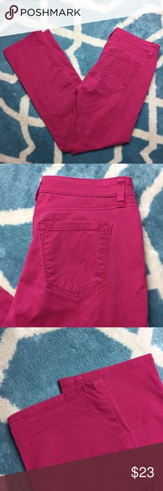 "LOFT Pink Modern Straight Jeans LOFT pink jeans in a modern straight cut. Zip fly and in great condition.  14.5"" across the waist 28"" inseam 4"" rise LOFT Jeans Straight Leg"