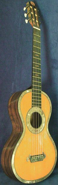 Early Musical Instruments, antique Romantic Guitar by Lacote around 1800