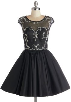 Speak Volumes Dress. Showcase your sparkling personality for everyone around as you tout this black party dress! #black #prom #modcloth