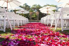 Whimsical Pink and White Ceremony Lawn | Bend The Light Photography | TheKnot.com