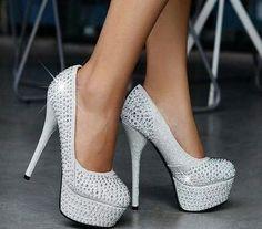 White sparkly studs heels