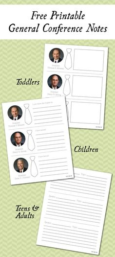 Free Printable General Conference Notes  //  Versions for Toddlers, Children, Teens & Adults