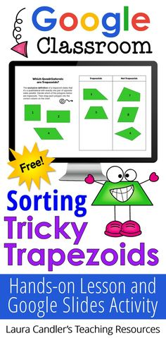 Did you know there are 3 ways to define a trapezoid? No matter which definition you use, this free Sorting Tricky Trapezoids lesson will help your kids master trapezoid classification! Freebie includes a printable hands-on activity plus a Google Classroom sorting activity for additional practice.