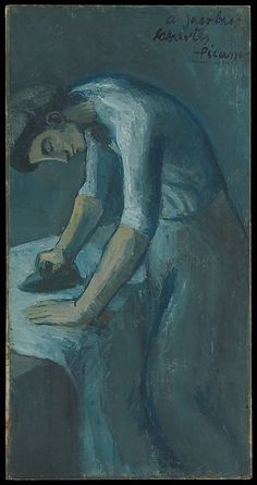 Woman Ironing Pablo Picasso (Spanish, Malaga 1881–1973 Mougins, France ) Date: 1901 Medium: Oil on canvas, mounted on cardboard Dimensions: 19 1/2 x 10 1/8 in. (49.5 x 25.7 cm) Classification: Paintings Credit Line: Alfred Stieglitz Collection, 1949 Accession Number: 49.70.2 Rights and Reproduction: © 2014 Estate of Pablo Picasso / Artists Rights Society (ARS), New York