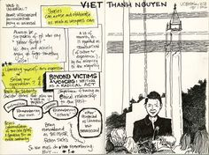 """Viet Thanh Nguyen, tweeting as @viet_t_nguyen, posted this note: """"My lecture at Berkeley on 'Beyond Victims & Voices: On Writing as a Radical Act,' rendered as a comic by the amazing @MsThiBui.""""         Twitter"""