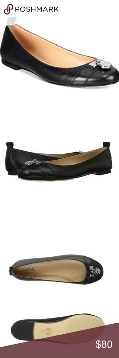 "♠️HP♠️ Michael Kors 'Hamilton' Leather Ballet Flat Brand new authentic MK leather flats. Has decorative silver logo-embossed padlocks on each toe and an approx. 1/4"" heel, which makes them stylish and comfy! Comes with original box. Bundle for a discount! Michael Kors Shoes Flats & Loafers"