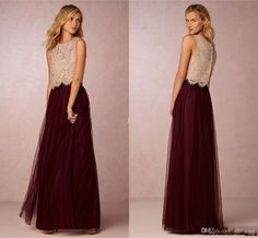 Elegant Burgundy Tulle Two Pieces Bridesmaid Dresses 2016 Lace Top A Line Formal Evening Event Wears Maid Of Honor Wedding Party Guest Gown African Bridesmaid Dresses Alexia Bridesmaid Dresses From Whiteone, $99.78| Dhgate.Com