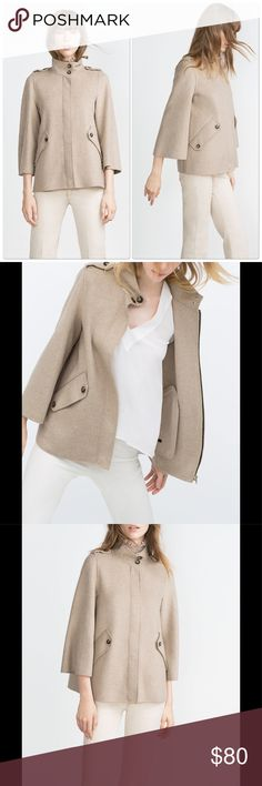 Zara Cape Coat in Natural New with tags! Gorgeous and unique. Zara Jackets & Coats
