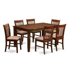 East West Furniture Dudley 7 Piece Rectangular Dining Table Set with Norfolk Chairs, Brown Kitchen Dining Sets, Dining Room Bar, Dining Chairs, Dining Table, Kitchen Tables, Solid Wood Dining Set, 7 Piece Dining Set, Dinette Sets, Dining Furniture