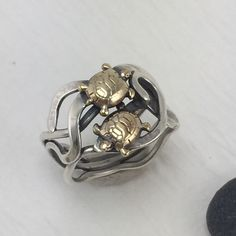 Double brass turtle and silver kelp mixed metal ring by simplyMegA on Etsy