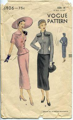 Vogue 6806 Suit Dress Pattern Vintage 40s or by PattysPastTimes, $30.00