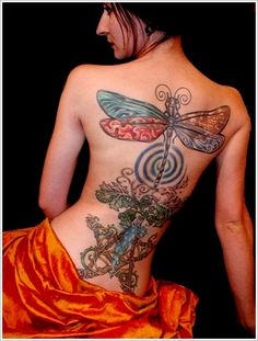 Dragonfly Tattoo. Full back and with beautiful colours.