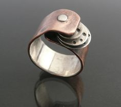 Cold Connected Copper, Sterling Silver Ring by LjBjewelry