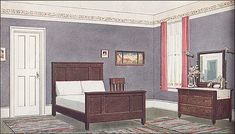 French gray walls, ivory trim, and coral curtains with Craftsman-style furniture. Very spartan and very relaxing.  Source: Ladies Home Journal Image from the Antique Home & Style collection.