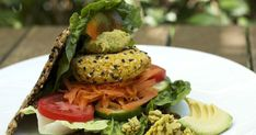 Raw Veggie Burger with Sunflower Bread and Raw Hummus
